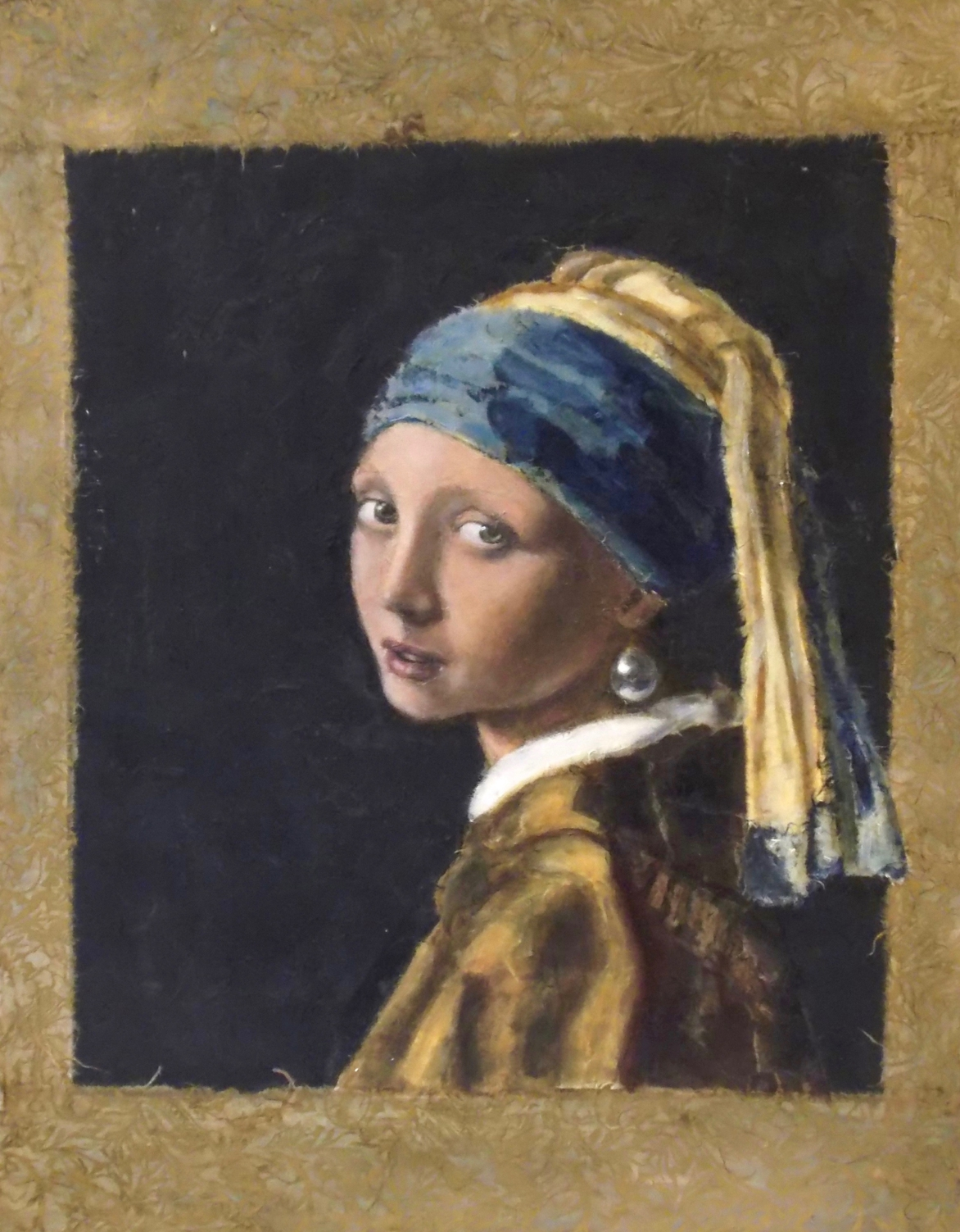 Girl with a Pearl Earring after Vermeer - Tanya Roland - Painting