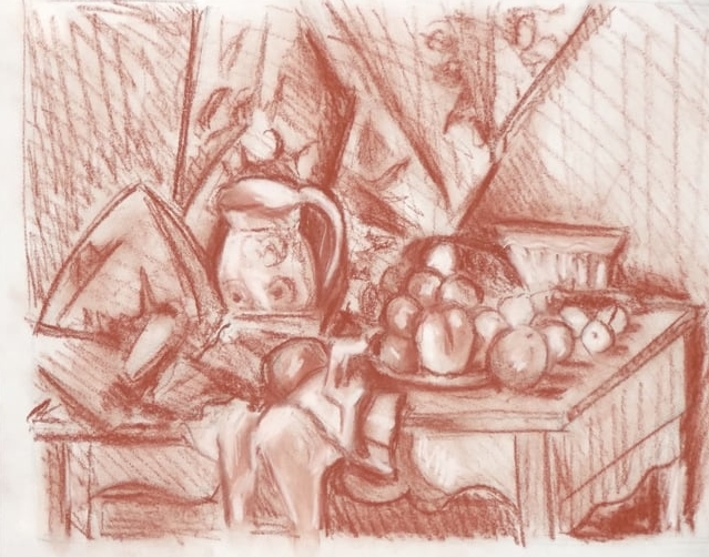 Apples and Pears after Cezanne - Tanya Roland - Drawing